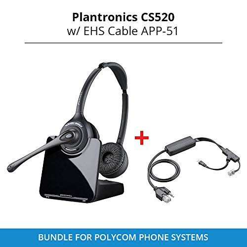 - Plantronics CS520 Binaural Wireless Headset System with EHS Cable APV-60, Bundle for Polycom Phone Systems