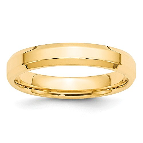 14k Yellow Gold 4mm Bevel Edge Comfort Fit Band Size 7 by Saris and Things