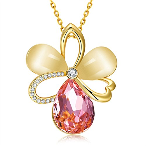 Women's Pendant Necklace 18K Gold-Plated Glass Pink Opal Inlaid Czech - Pink Sunglasses Mink