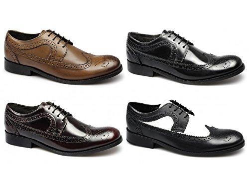Ikon YORKE Mens Brogue Schuhe & Leder schwarz weiß Schwarz / Weiß