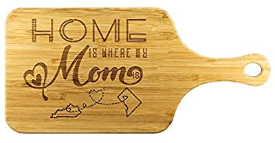 Cutting Boards For Kitchen Bamboo - Home Is Where My Mom Is Kentucky State KY And District of Columbia State DC - Funny Long Distance Relationship Mom Gifts From Daughter Mother Day