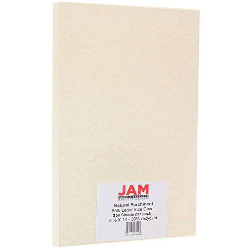 JAM Paper Parchment Legal Size Cardstock - 8.5'' x 14'' - 65lb Natural Parchment - 250 Sheets/Pack by JAM Paper