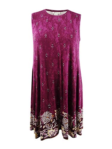 (Style & Co. Womens Plus Paisley Printed Tunic Dress Purple)