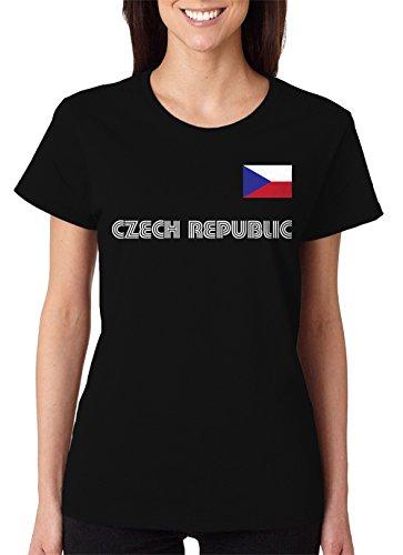 SpiritForged Apparel Czech Republic Soccer Jersey Women's T-Shirt, Black XL