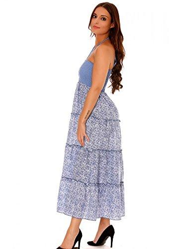 dmarkevous - Parfaite Robe d'été bleu ciel à volant, avec des motifs à fleurs - M-L, bleu ciel