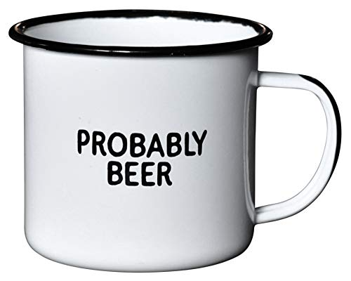 PROBABLY BEER | Enamel Coffee Mug | Funny Home Bar Gift for Beer Lovers, Homebrewers, Men, and Women | Cool Cup for the Office, Kitchen, Campfire, and Travel