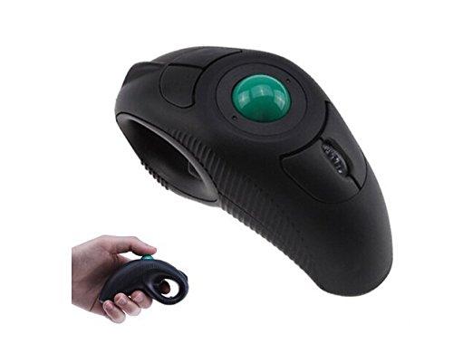 elobeth tragbar Finger HandHeld 4D Trackball USB-Maus für Links/Rechts Linkshänder (schwarz) Laptop Liebhaber