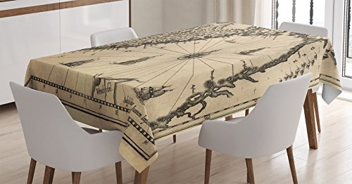- Ambesonne Wanderlust Decor Tablecloth, Ancient Map of Southern Part of the Norway Vikings World Old Scandinavian Lands Print, Rectangular Table Cover for Dining Room Kitchen, 60x90 Inches, Cream Grey