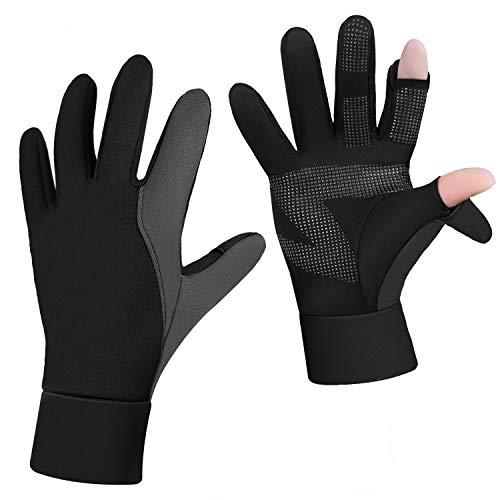 Chuansen Lightweight Running Gloves Warm Gloves Mittens Liners Women Men Touch Screen Gloves Cycling Bike Sports Gloves (Fish Gloves, Medium)
