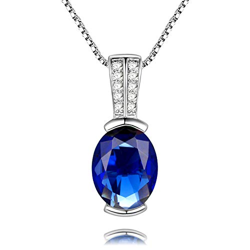 Uloveido Women's 925 Sterling Silver Simulated Oval Blue Sapphire Pendant Choker Necklace, September Birth Stone Necklace (Platinum, Blue Stone) LN004