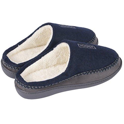 Home Slipper Mens Slippers,Cozy Fluffy Slip on Memory Foam Clog House Shoes Indoor/Outdoor Dark Blue