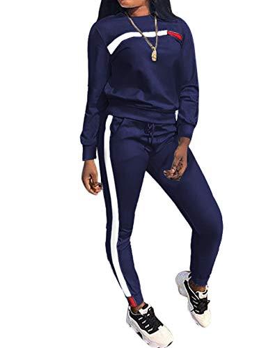Salimdy Women Tracksuit Set Hoodies Sweatshirt Pant Sets 2 Piece Outfits Stripe Pullover Long Pants Jumpsuit