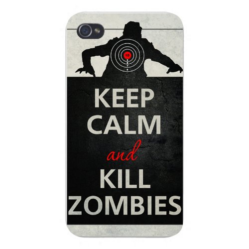 Apple Iphone Custom Case 5 5s AND SE Snap on - Keep Calm and Kill Zombies w/ Silhouette & Scope Target ()