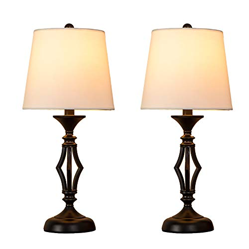 POPILION Antique Black Hollowed Metal Base Set of Two Livingroom Table Lamp, Bedroom Bedside Table Lamps with White Fabric Shade by POPILION (Image #7)