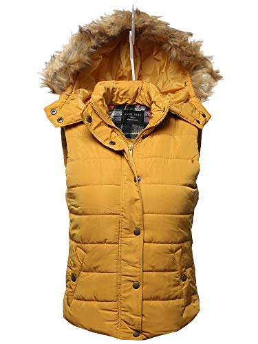 Awesome21 Womens Junior Size Zipper Closure Hoodie Side Pocket Lightly Padded Vest Jacket