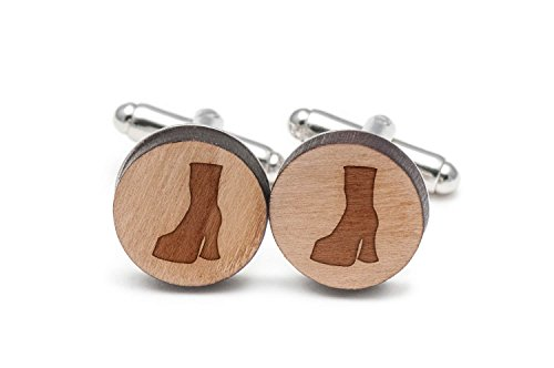 Wooden Accessories Company Gogo Boots Cufflinks, Wood Cufflinks Hand Made in The USA ()