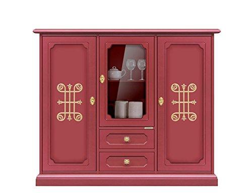 Credenza Con Vetrina In Legno : Credenza alta con vetrina e cassetti color rubino fregi dorati