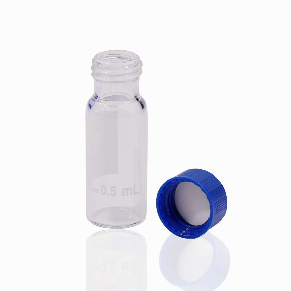Alberts Filter Clear Lab Vial Blue Screw Cap with Hole 9-425 Screw-Thread Vial Sample Vial with Writing Area Autosampler Vial 2ml HPLC Vial Red PTFE /& White Silicone Septa 100 Pack