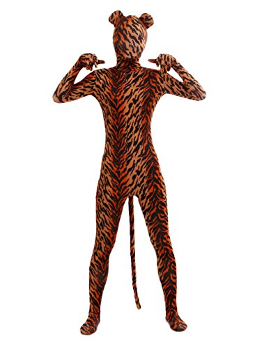 Ensnovo Adult Full Body Lycra Spandex Tiger Zentai Suit Costumes, XL