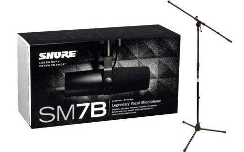 Shure SM7B Cardioid Dynamic Microphone w/Tripod Boom Stand Package by Shure