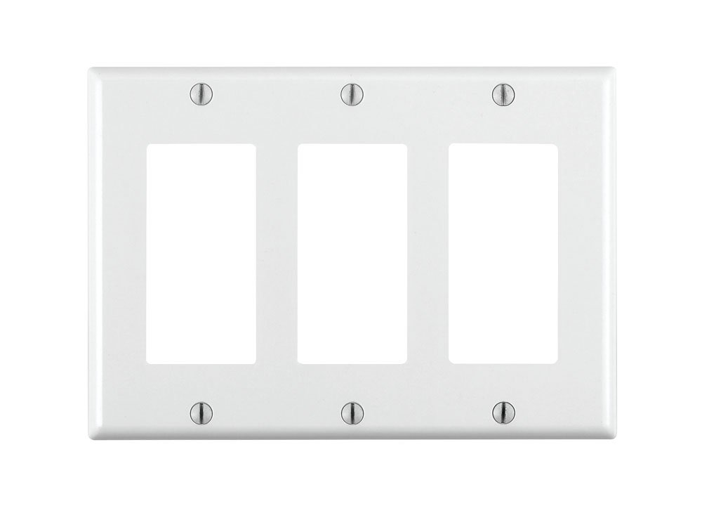 leviton 80411w 3gang decoragfci device decora wallplate standard size