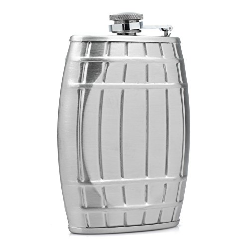 Gosedy Creative Barrel Shaped Stainless Steel Hip Flask Flagon Barware Portable Drinking Vessel (Silver)