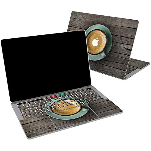 Lex Altern Vinyl Skin for MacBook Air 13 inch Mac Pro 15 Retina 12 11 2019 2018 2017 2016 2015 Old Wooden Board Coffee Cup Table Aesthetic Food Print Laptop Cover Decal Sticker Touch Bar Protective