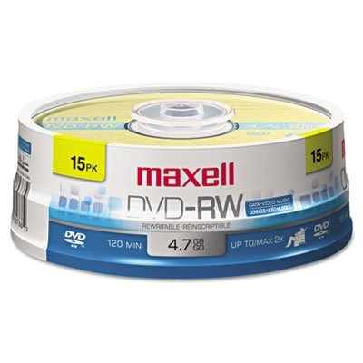 DVD-RW Discs, 4.7GB, 2x, Spindle, Gold, 15/Pack, Sold as 2 Package by Maxell