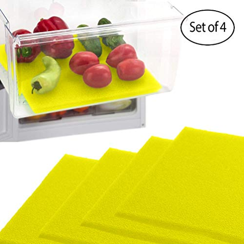 Dualplex Fruit & Veggie Life Extender Liner for Fridge Refrigerator Drawers (4 Pack) - Extends The Life of Your Produce Stays Fresh & Prevents Spoilage, 12 X 15 Inches (Yellow)
