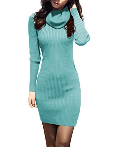 v28 Women Cowl Neck Knit Stretchable Elasticity Long Sleeve Slim Fit Sweater Dress (2-8,Jadeblue)