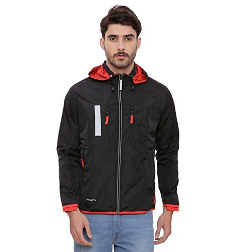 Jacket Travel Black (VERSATYL Multi Utility Travel Jacket with 18 Pockets and 29 Features with Detachable Hood Unisex 100% Polyster (Black and Fiery Red, X- Large))