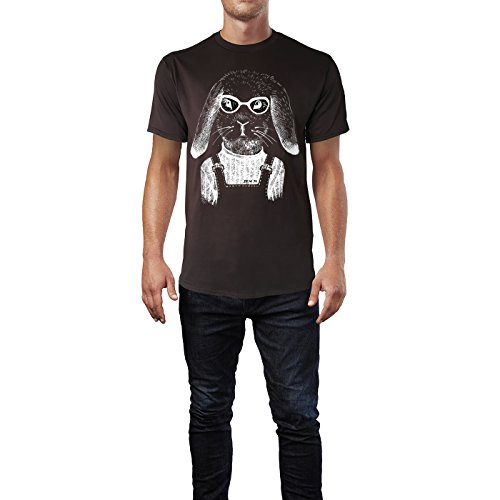 SINUS ART ® Hipster Fuchs mit Brille Herren T-Shirts in Schokolade braun Fun Shirt mit tollen Aufdruck