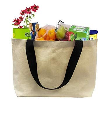 (Earthwise EXTRA LARGE Grocery Bag Beach Shopping Tote HEAVY DUTY 12 oz Cotton Canvas Multi Purpose 20