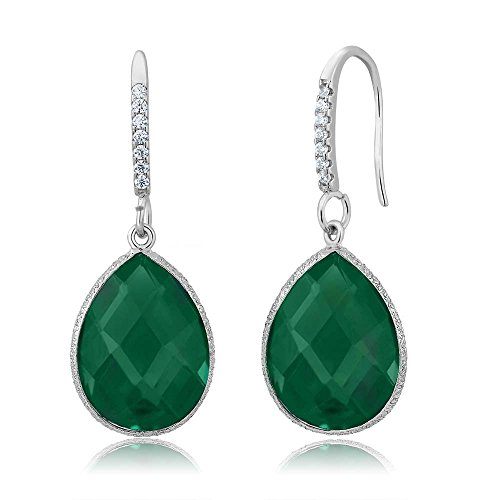 - Gem Stone King 13.00 Ct Green Onyx 16X12MM Pear Shape 925 Silver Dangle Earrings