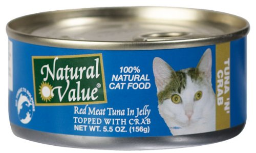 Natural Value Cat Food, Red Meat Tuna in Jelly Topped with Crab, 5.5-Ounce Cans (Pack of 24), My Pet Supplies