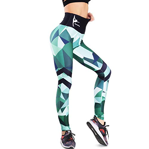 b087227d6701fd RaoRanDang Women Yoga Pants Color Block Workout Leggings High Waist Tummy  Control 4 Way Stretch Patterned