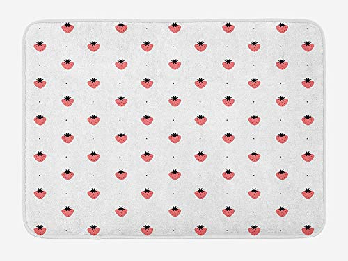 TAQATS Strawberry Bath Mat, Healthy Summer Snacks Organic Nutritious Fruits Tasty Sweet Doodle Style, Plush Bathroom Decor Mat with Non Slip Backing, 23.6 W X 15.7 W Inches, Black White Coral