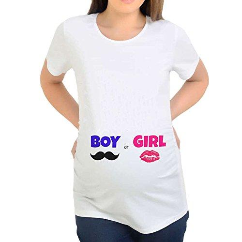 Q.KIM Camiseta de maternidad Elasticidad Suave Embarazada Camiseta Premamá T-shirt bebé divertido estampado Estilo 17