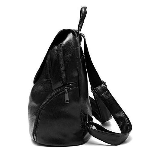 HMWHJP Student Casual New Side Sac Leather Sacs Élégant Main De Sport Soft Backpack à Black Lady WineRed rxIrFq