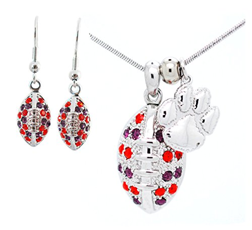 Violet Victoria & Fan Star Jewelry Clemson Football Necklace and Earring Set - Orange and Purple Crystal - Tigers ()