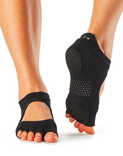 ToeSox Women's Prima Bellarina Half Toe Grip Socks (Black) Small