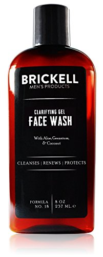 Brickell Men's Clarifying Gel Face Wash for Men – Natural & Organic Facial Cleanser – 8 oz ()