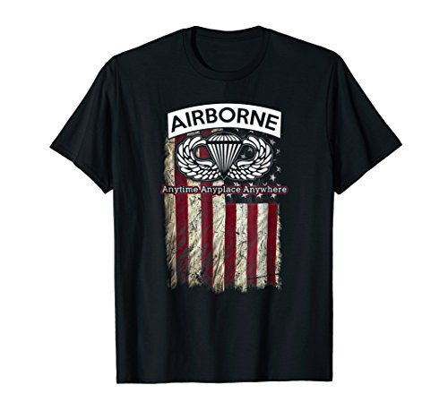 Airborne Paratrooper T-shirt Black Jump Wings Airborne ()