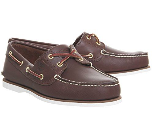 Timberland Men's Cls 2Eye Boat Orange Shoes 29597 Dark Brown Leather Lv5FSlpF