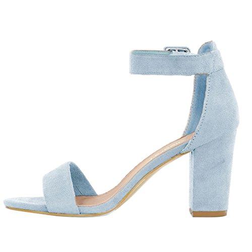 Women Sky Heel K Sandals Chunky Blue Strap Allegra Ankle 1wSgq50