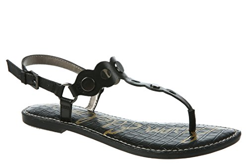 Sam Edelman Women's Gilly Flat Sandal, Black Leather, 9 M US