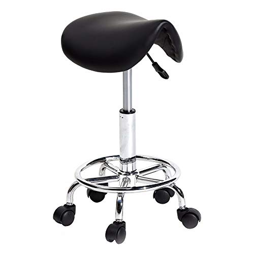 Saddle Stool Style Bar (Swivel Adjustable Bar Stool Saddle Style Barstools Pub Kitchen Counter Chair with Rolling Wheels Black)