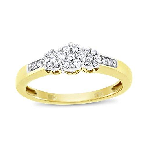 - 0.30 Ct. Natural Diamond Triple Flower Promise Ring 10k Yellow Gold