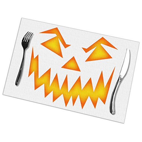 Peijiu-yi Scary Halloween Face Placemats Set of 6,Heat-Resistant Placemats Stain Resistant Anti-Skid Washable Mats Placemats