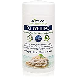 Arava Pet Eye Wipes,100 Count, for Dogs - Cats, Puppies & Kittens, Natural and Aromatherapy Medicated, Removes Dirt, Crust and Discharge, Prevents Tear Stain, Infections and Irritations, Soft & Gentle